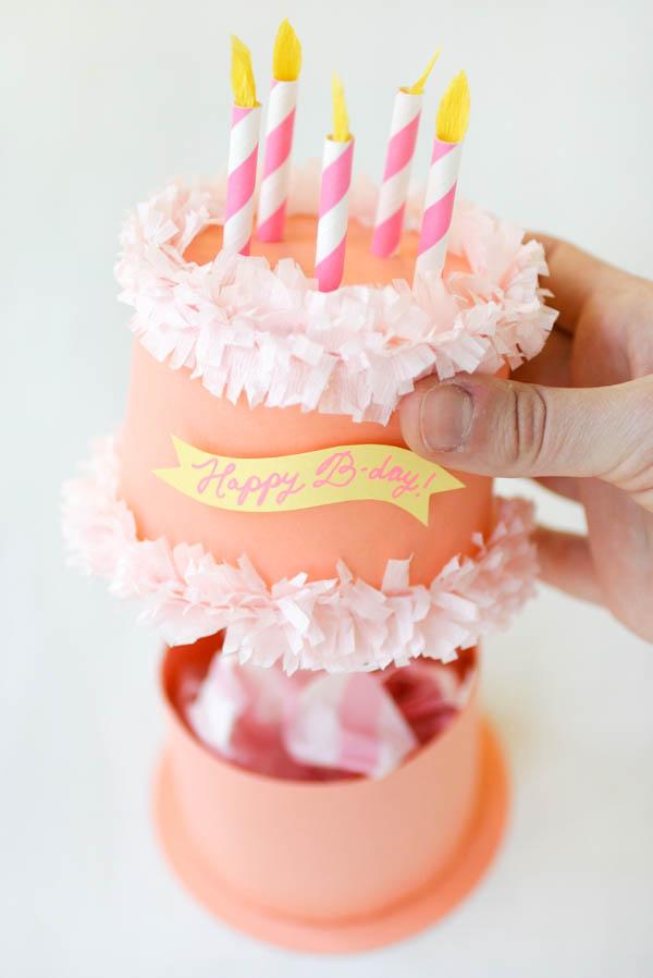 Paper Birthday Cake Box - birthday cake card template