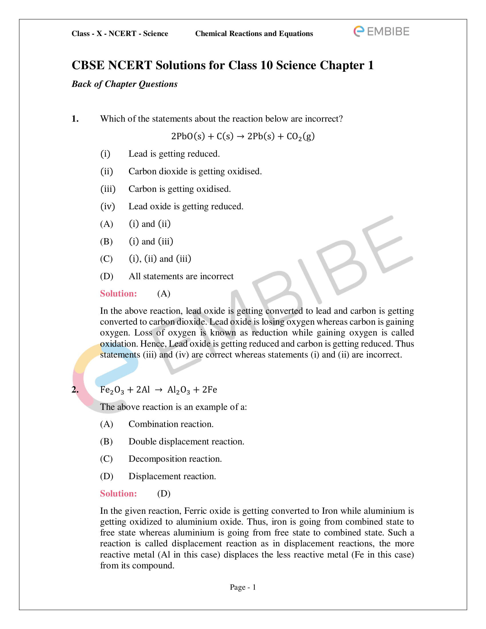 Ncert Solutions For Class 10 Science Chapter 1 Pdf Chemical - Online Test For Chemical Reactions And Equations