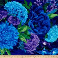 Timeless Treasures Midnight Large Floral Midnight ...