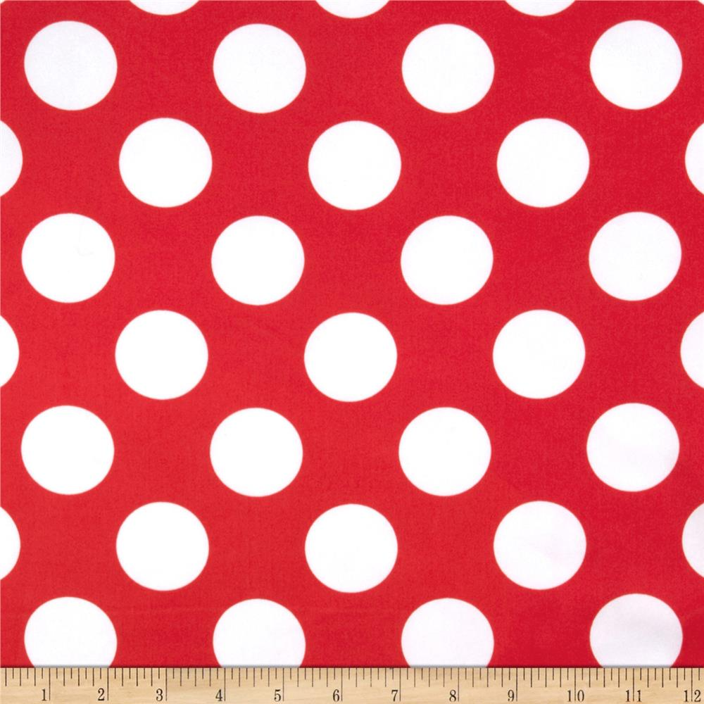 Cute Cloud Wallpaper Charmeuse Satin Large Polka Dots Red White Discount