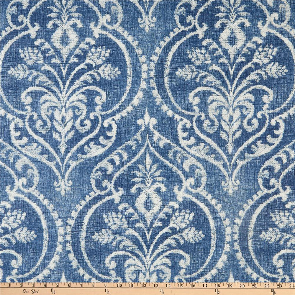 Outdoor Curtain Fabric By The Yard Swavelle Dalusio Damask Denim