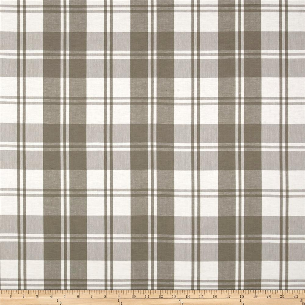 Plaid Taupe Laura Kiran Classic Plaid Taupe White Canvas