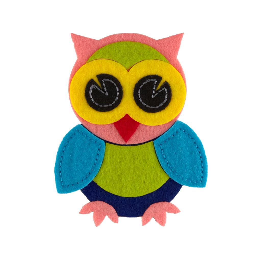 Applique Owl Felt Applique Pink