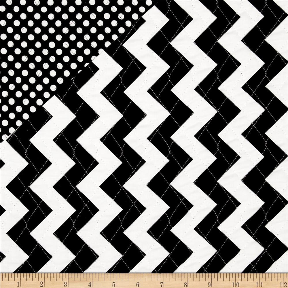Quilted Fabric Riley Blake Double Sided Quilted Medium Chevron Black