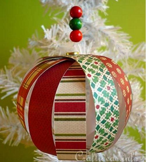 Table Linens Paper Strip Sphere Christmas Ornament Crafts