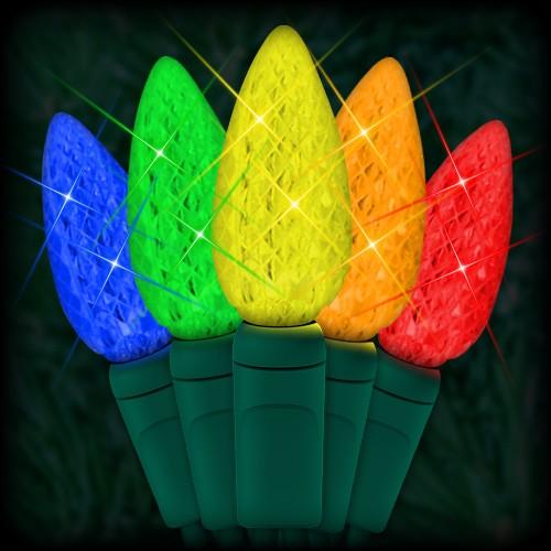 LED multi color Christmas lights 35 C6 LED strawberry style bulbs 4