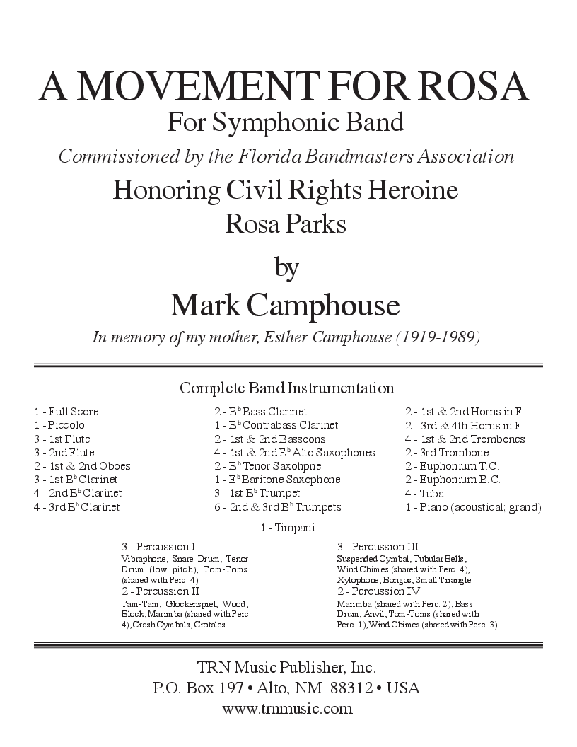 In Rosa A Movement For Rosa By Mark Camphouse J W Pepper Sheet Music