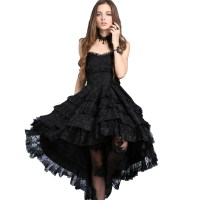 Black Gothic Lolita Strapless Dove Tail Party Dress $9 To Ship
