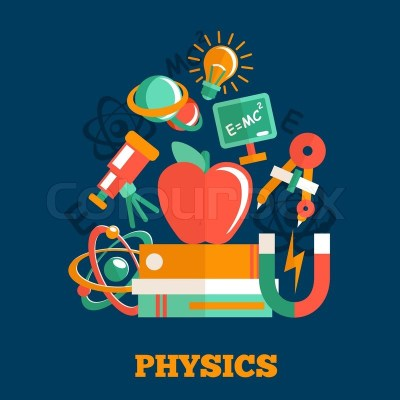 Physics science flat design poster ... | Stock Vector | Colourbox