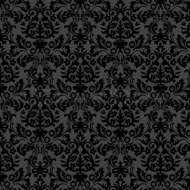 Black damask vintage floral pattern, vector Eps 10 illustration