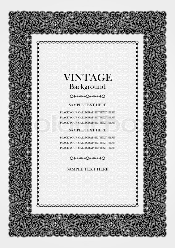 Vintage background, antique ornamental frame, victorian black and - Award Paper Template