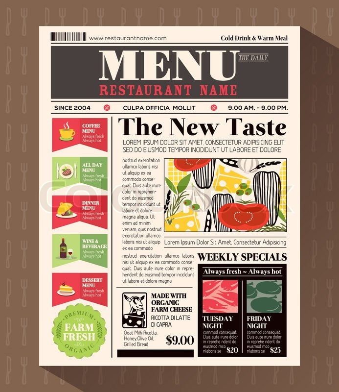 Restaurant Menu Design Template in Newspaper style Stock Vector