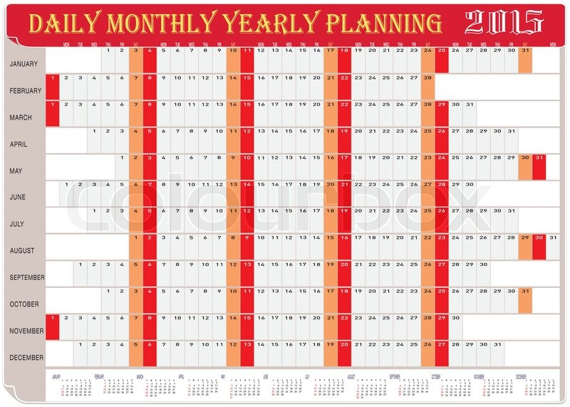 Vector of Planning Chart of Daily Monthly Yearly 2015 Stock - daily monthly planners