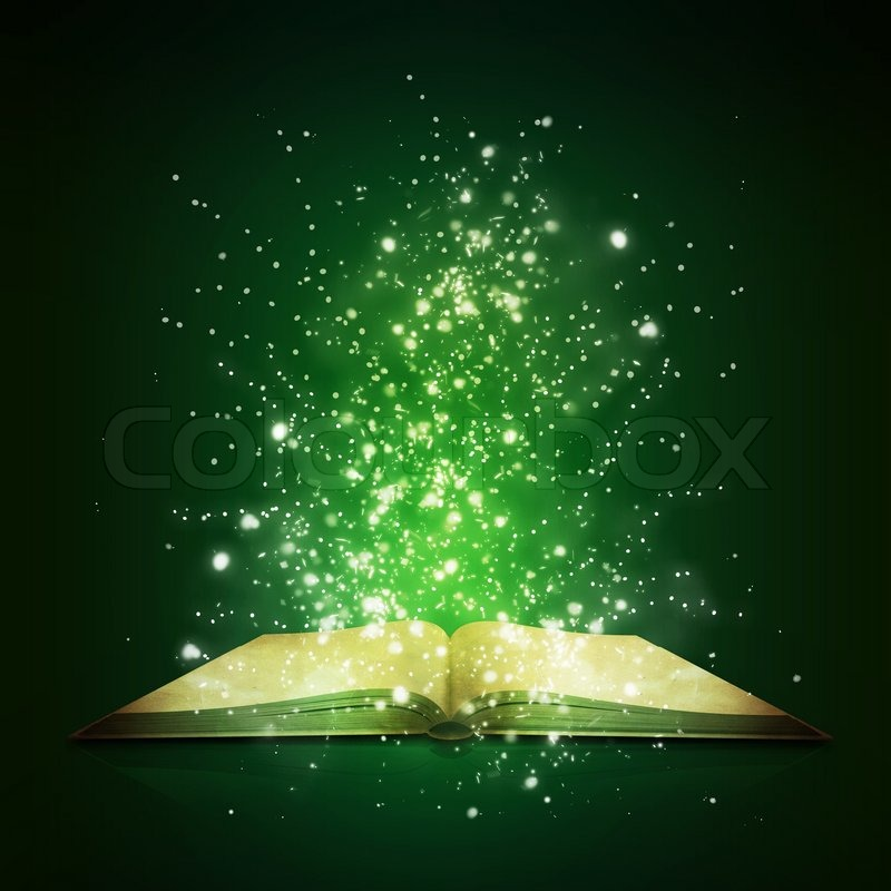 Falling Stars Grunge Wallpaper Old Open Book With Magic Light And Stock Photo