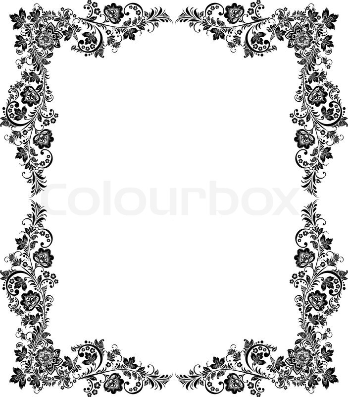 Vector black and white vintage floral Stock Vector Colourbox