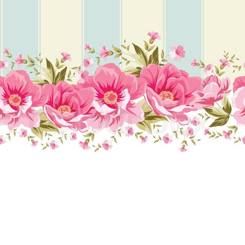 Orange Fall Peony Wallpaper Ornate Pink Flower Border With Tile Elegant Vintage Card