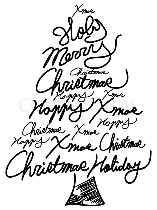 Isolated doodle Christmas tree word clouds for Christmas greeting - christmas tree words