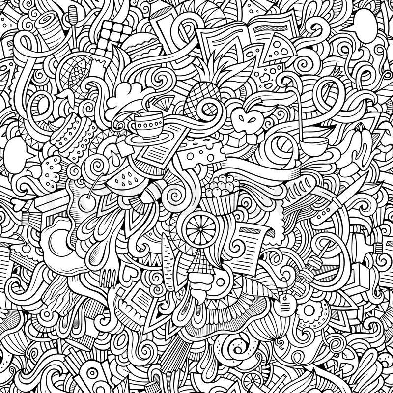 Tribal Cute Wallpaper Cartoon Vector Doodles Hand Drawn Food Seamless Pattern