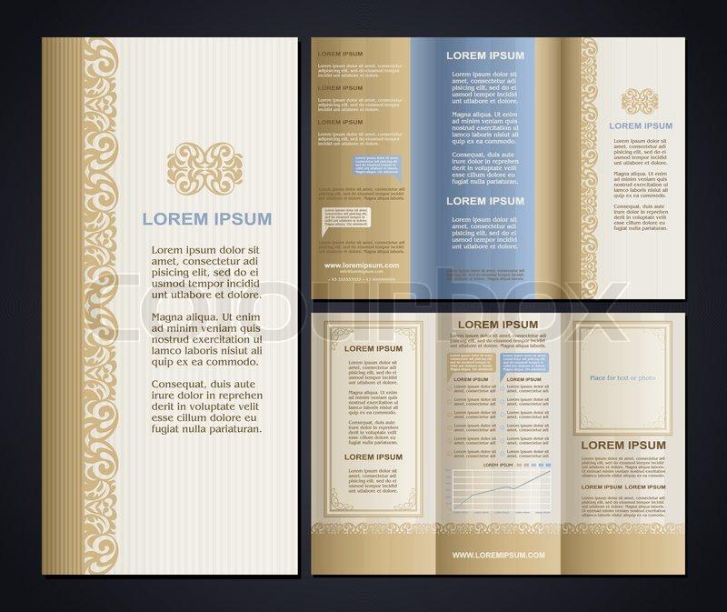 Vintage style brochure design template with logo, modern art