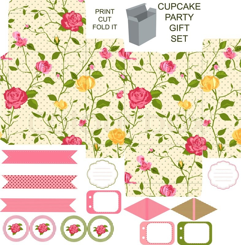 Party set Gift box template Abstract floral shabby chic pattern