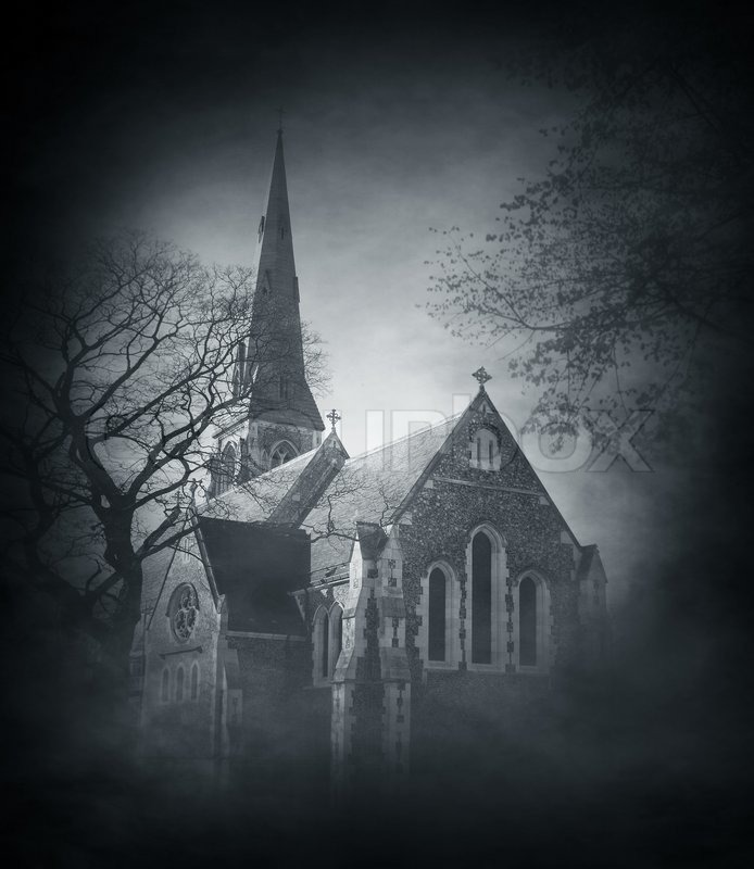 Halloween background with spooky and Stock Photo Colourbox