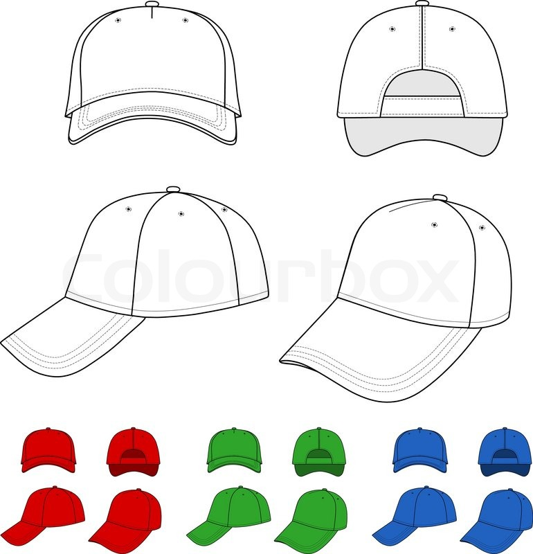 Cap Vector Illustration Featured Front Back Side Top