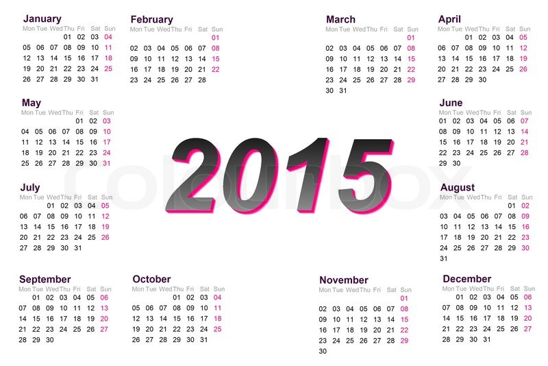 European 2015 year calendar with week Stock Photo Colourbox