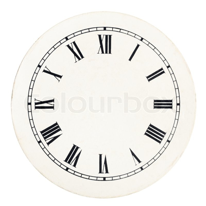 Real round 12-hour roman numeral clock face template on white - clock face template