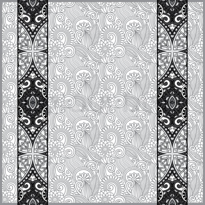 Grey lace border stripe in ornate floral background, black and white - black border background