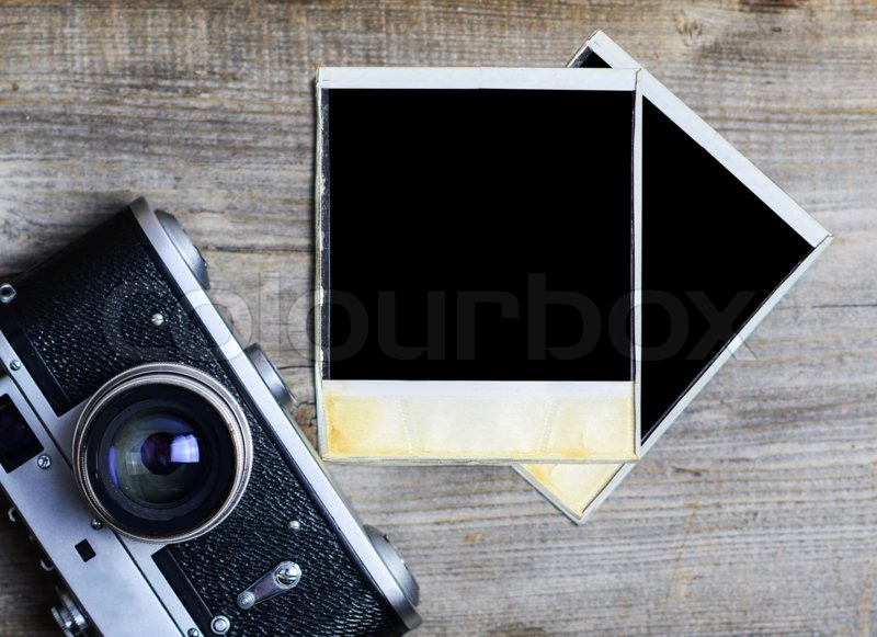 Free Classic Car Wallpaper Vintage Camera With Blank Old Photograph On Wooden