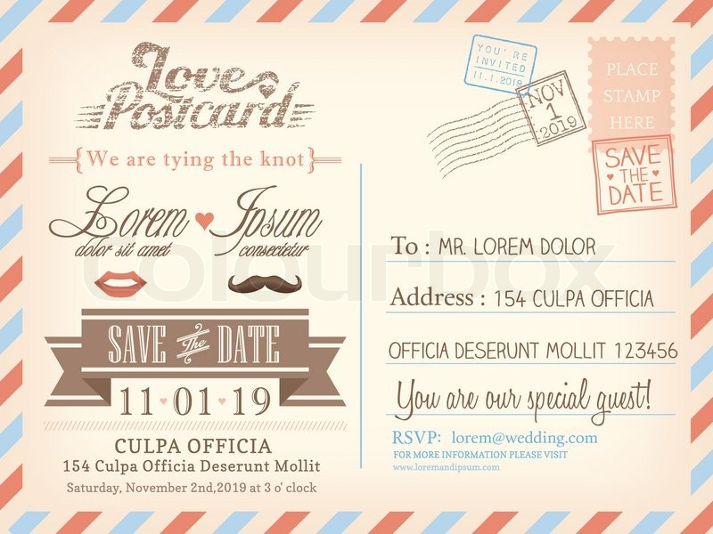 Vintage airmail postcard background Stock Vector Colourbox