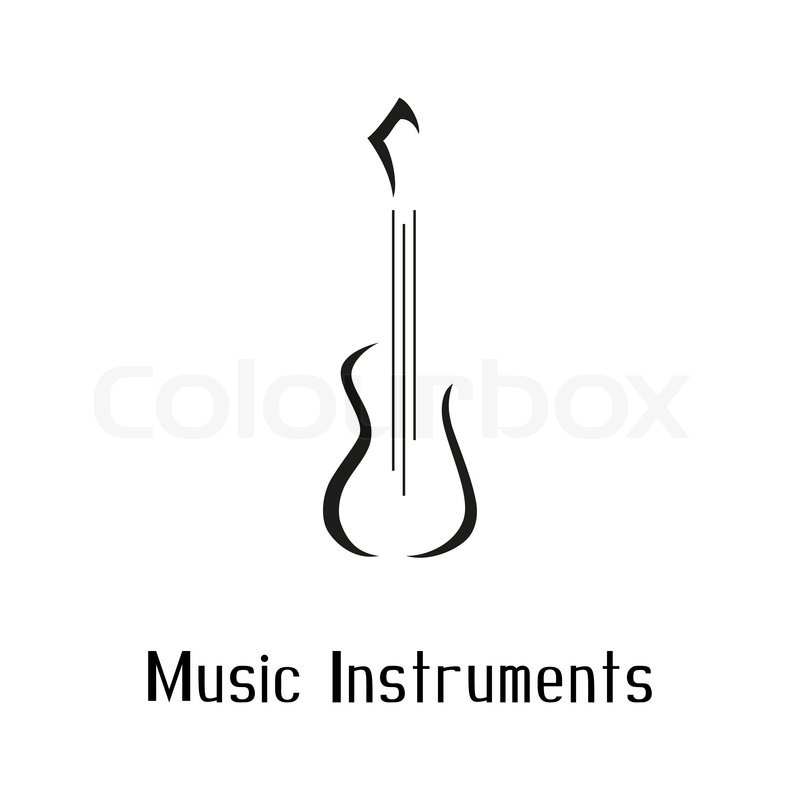 Musical instruments store logo with guitar Vector illustration - text logo template