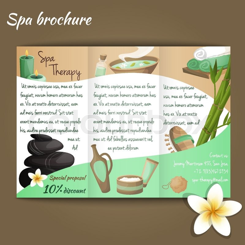 Spa salon discount brochure with beauty and health products vector - spa brochure