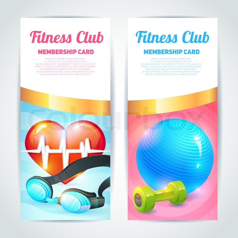 Fitness club membership card design vertical banners set isolated - club card design