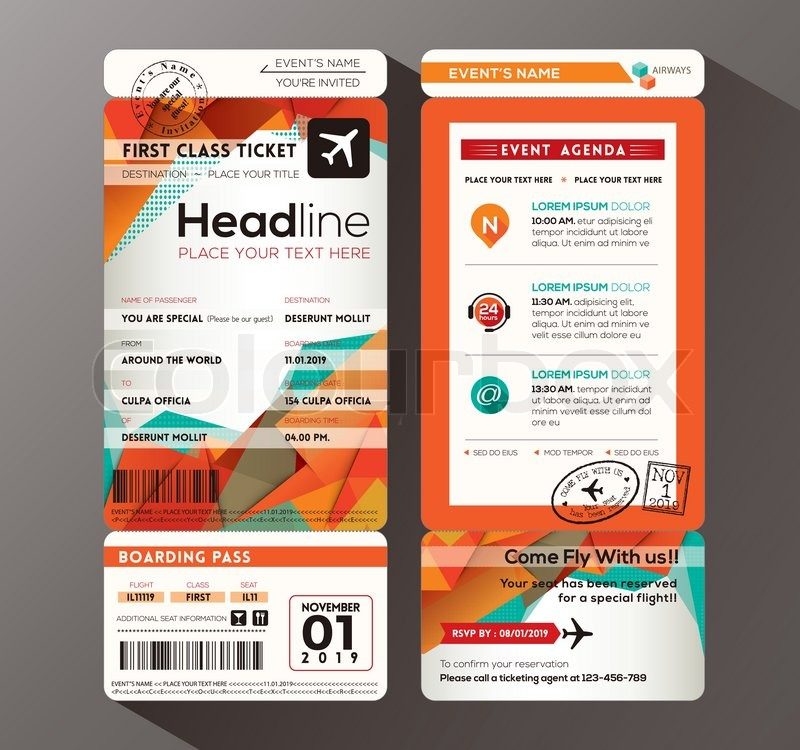 Modern design Boarding Pass Ticket Event Invitation card vector - invitation card event