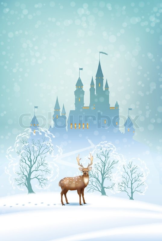 Falling Anow Wallpaper Christmas Winter Vector Landscape With Stock Vector