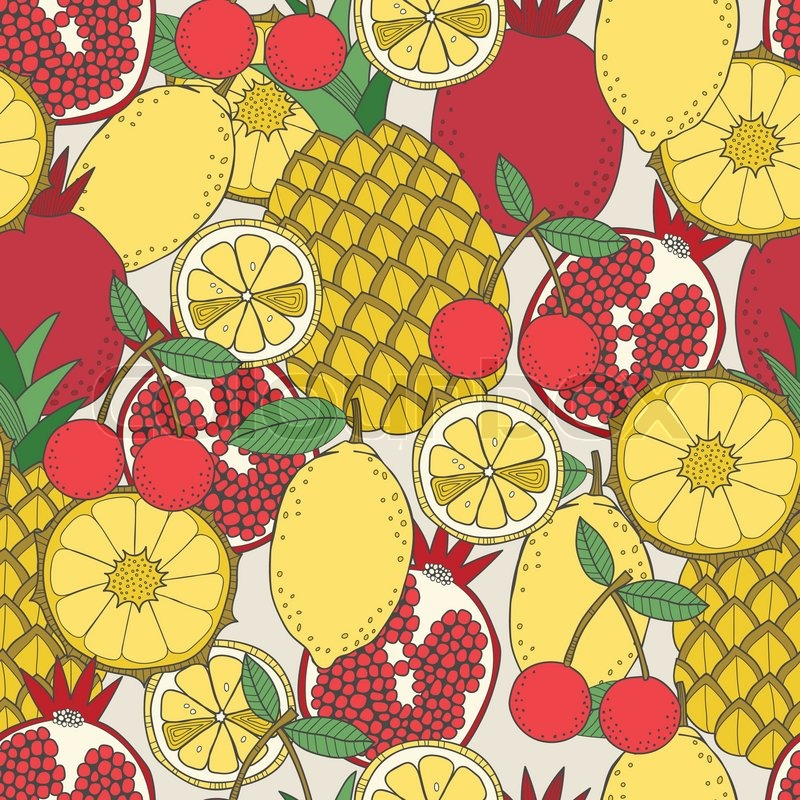Cute Tribal Patterns Wallpaper Seamless Fruit Pattern Of Pineapples Lemons Pomegranates