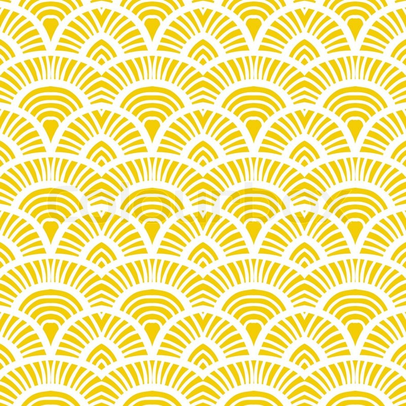 Fall Patterns Wallpaper Vintage Hand Drawn Art Deco Pattern With Scale Motifs