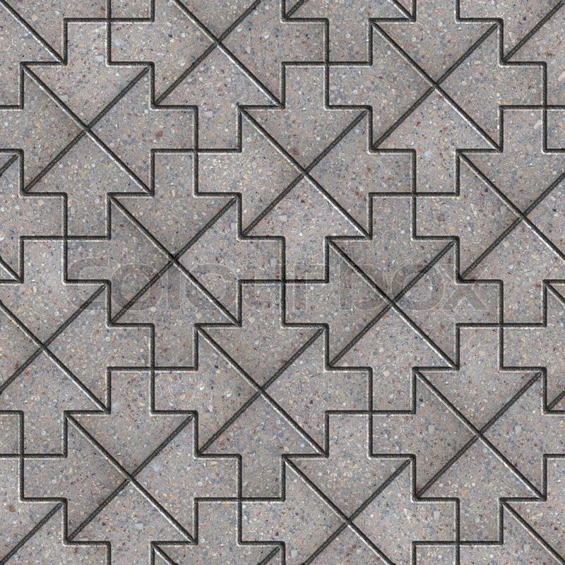 Modern 3d Brick Pattern Wallpaper Grey Pavement Of Figured Slabs Seamless Tileable Texture
