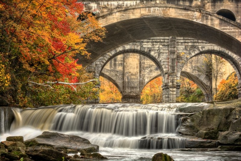 Paris In The Fall Wallpaper Berea Falls Ohio During Peak Fall Stock Photo