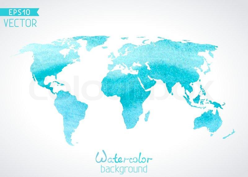 Cute World Map Desktop Wallpaper World Vector Watercolour Map Isolated On Light Background