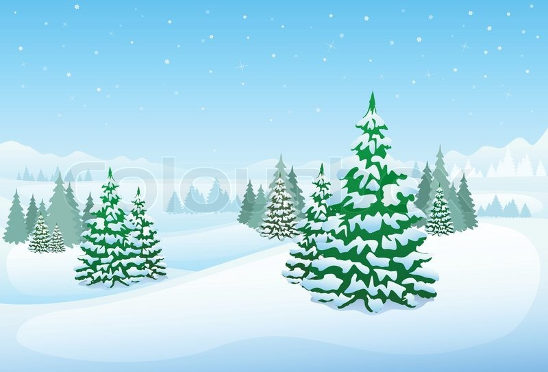 Winter forest landscape christmas background, pine snow trees woods - christmas background image