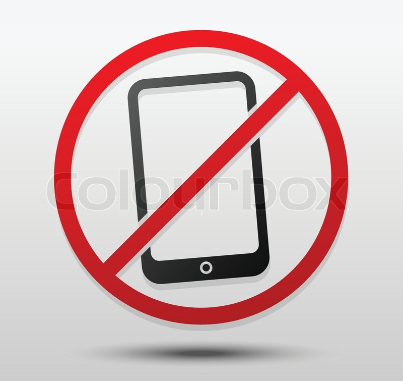 Smartphone and probitive sign Turn off cellphones, mobile phone ban