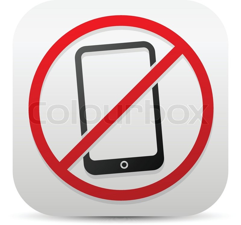 Smartphone and probitive sign Turn off cellphones, mobile phone ban - Turn Off Cell Phone Sign