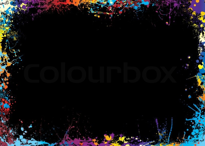 Black background with a rainbow ink splat border Stock Vector - black border background