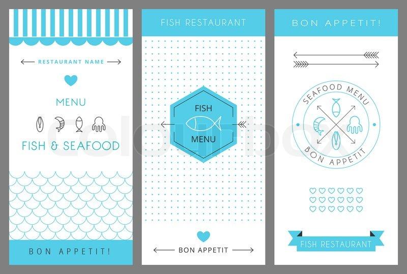 Restaurant menu design template Fish and seafood menu Vector