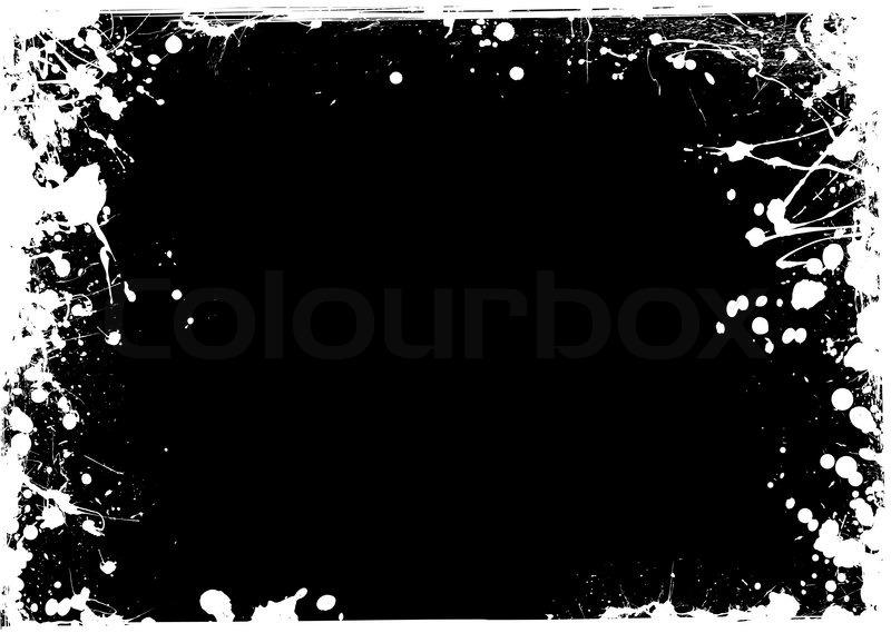 Black and white ink grunge background with thin frame Stock Vector - black border background