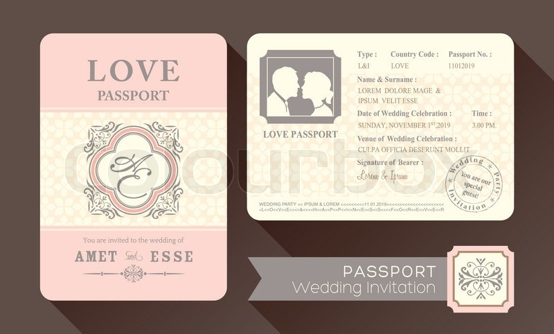 Invitation Card For Wedding Layout Vintage Visa Passport Wedding | Stock Vector | Colourbox