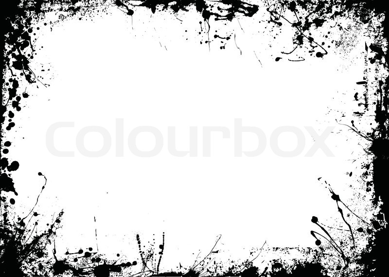 Abstract black and white ink border Stock Vector Colourbox