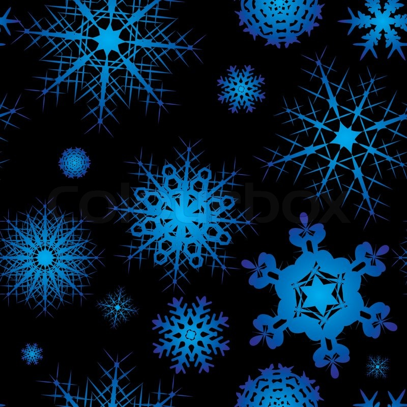 Snowflake background design in blue and black with no join Stock